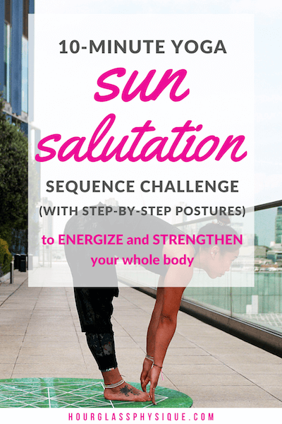 Yoga sun salutation sequence with step-by-step postures